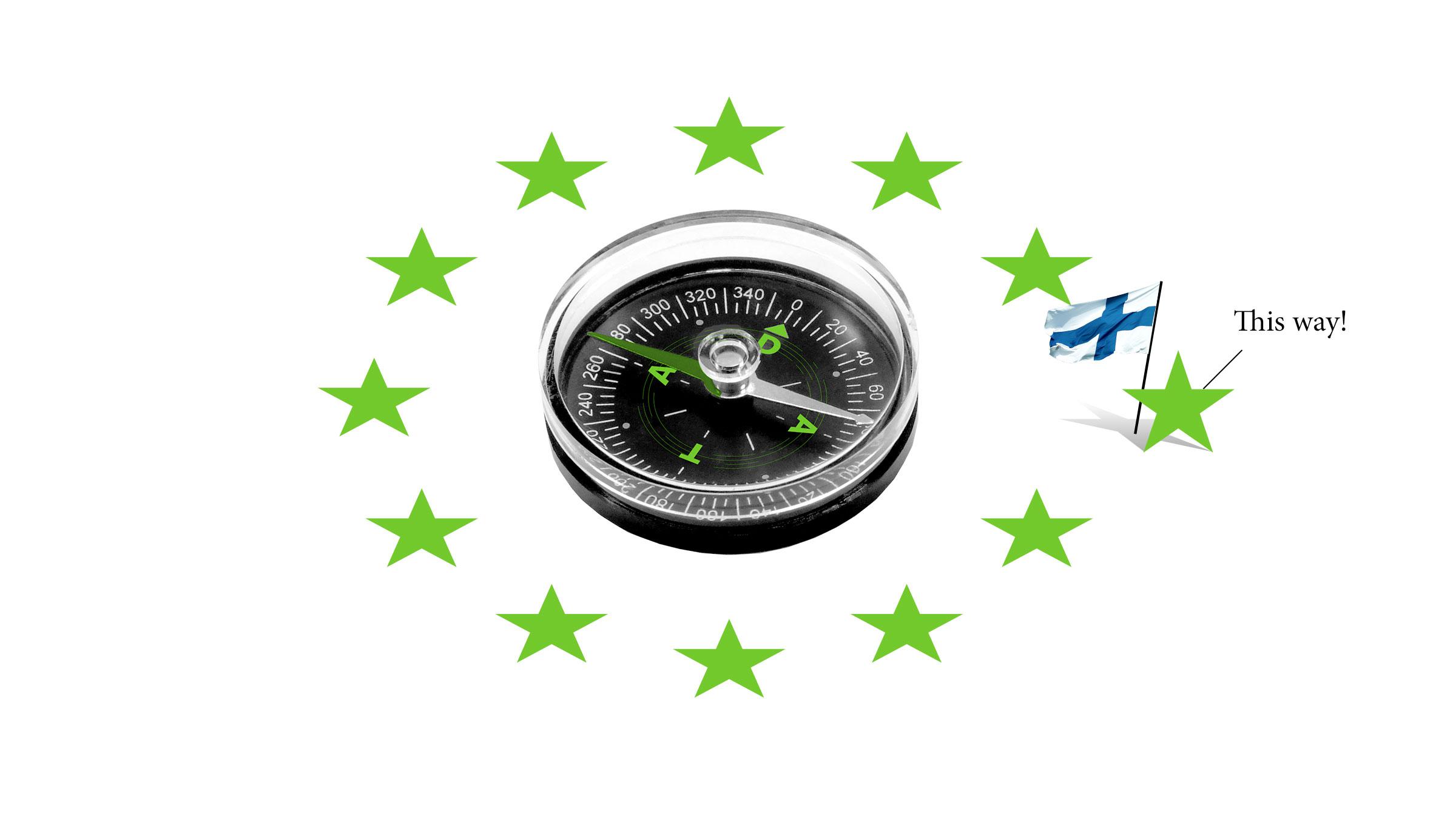 Kuvituskuva: EU:n tähdet kompassin ympärillä.