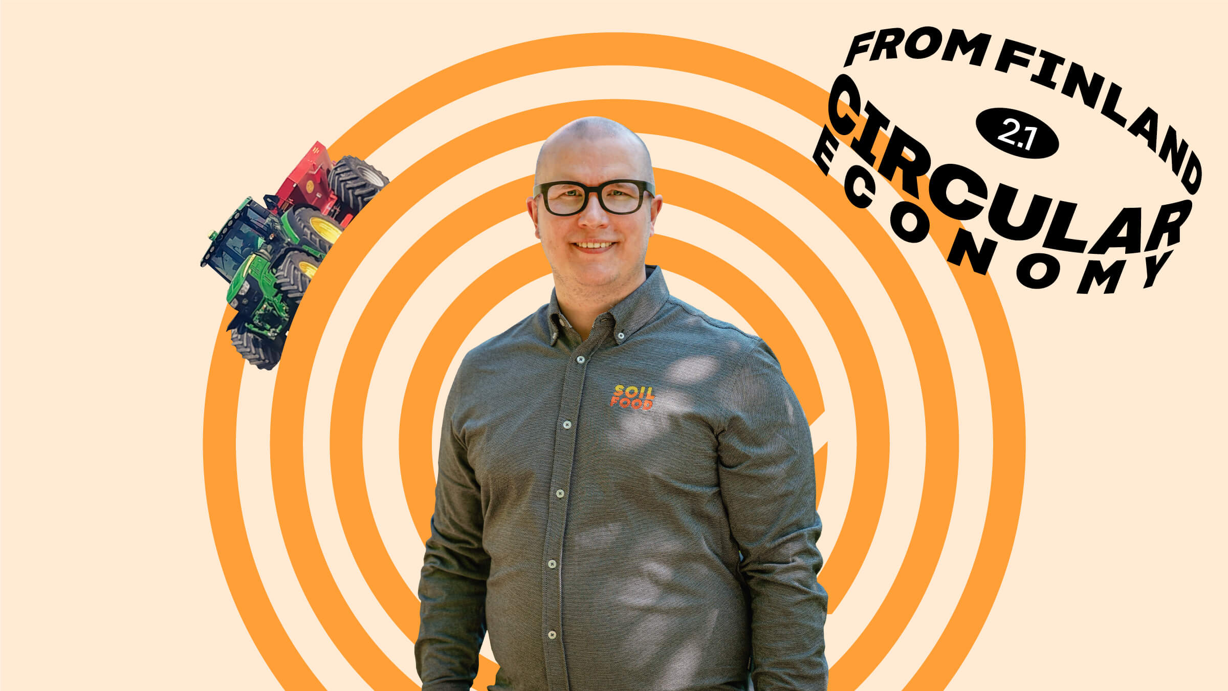 Soilfood's CEO and founder Eljas Jokinen on an orange background with a tractor.