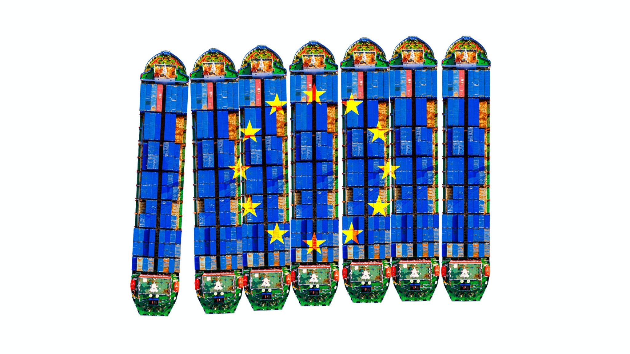 Carbo boats with an EU logo